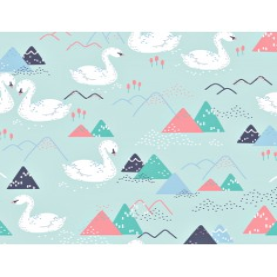 Tkanina w łabędzie i góry na miętowo błękitnym tle