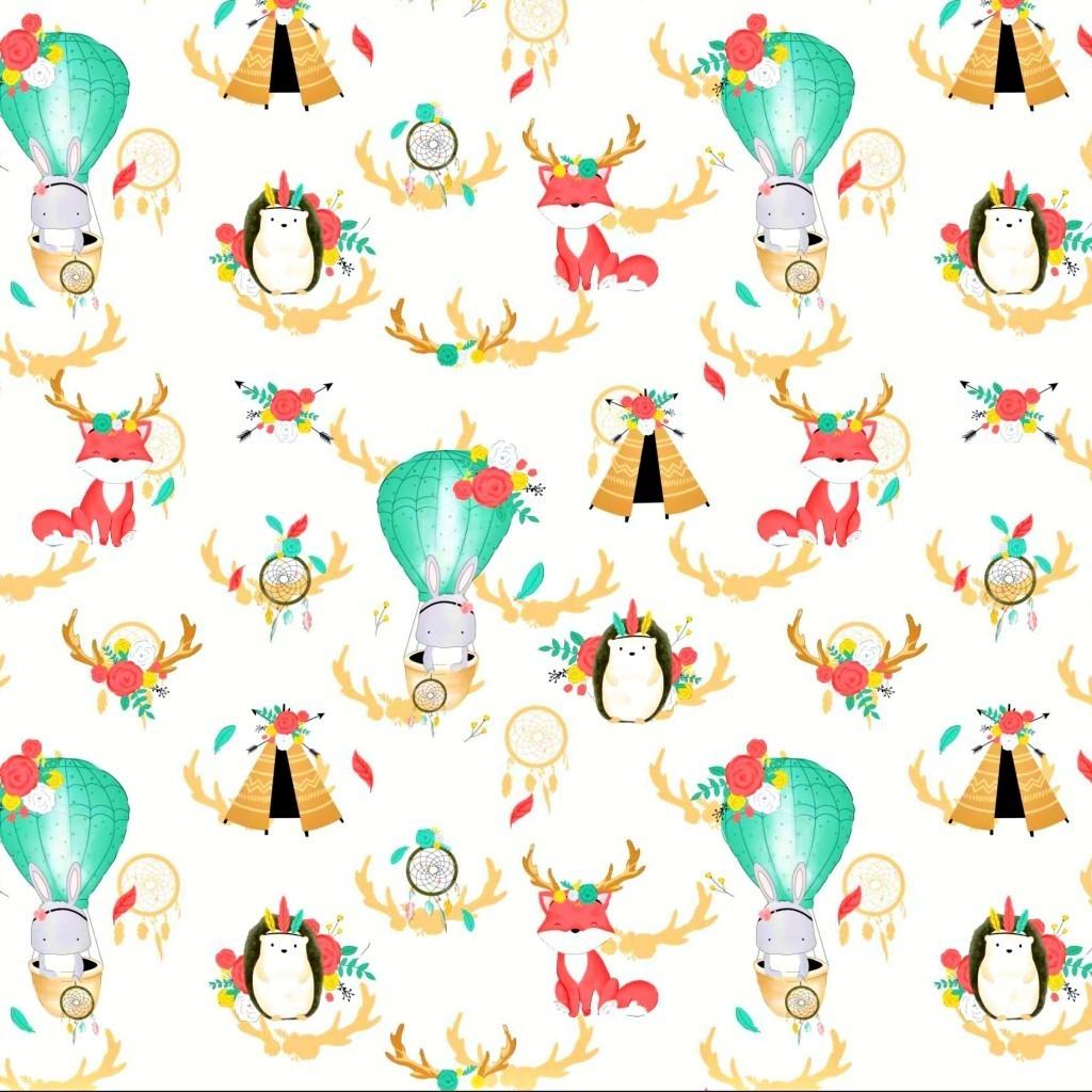 Bawełna zwierzęta z rogami na białym tle