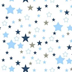 Tkanina gwiazdozbiór niebiesko granatowo szary na białym tle