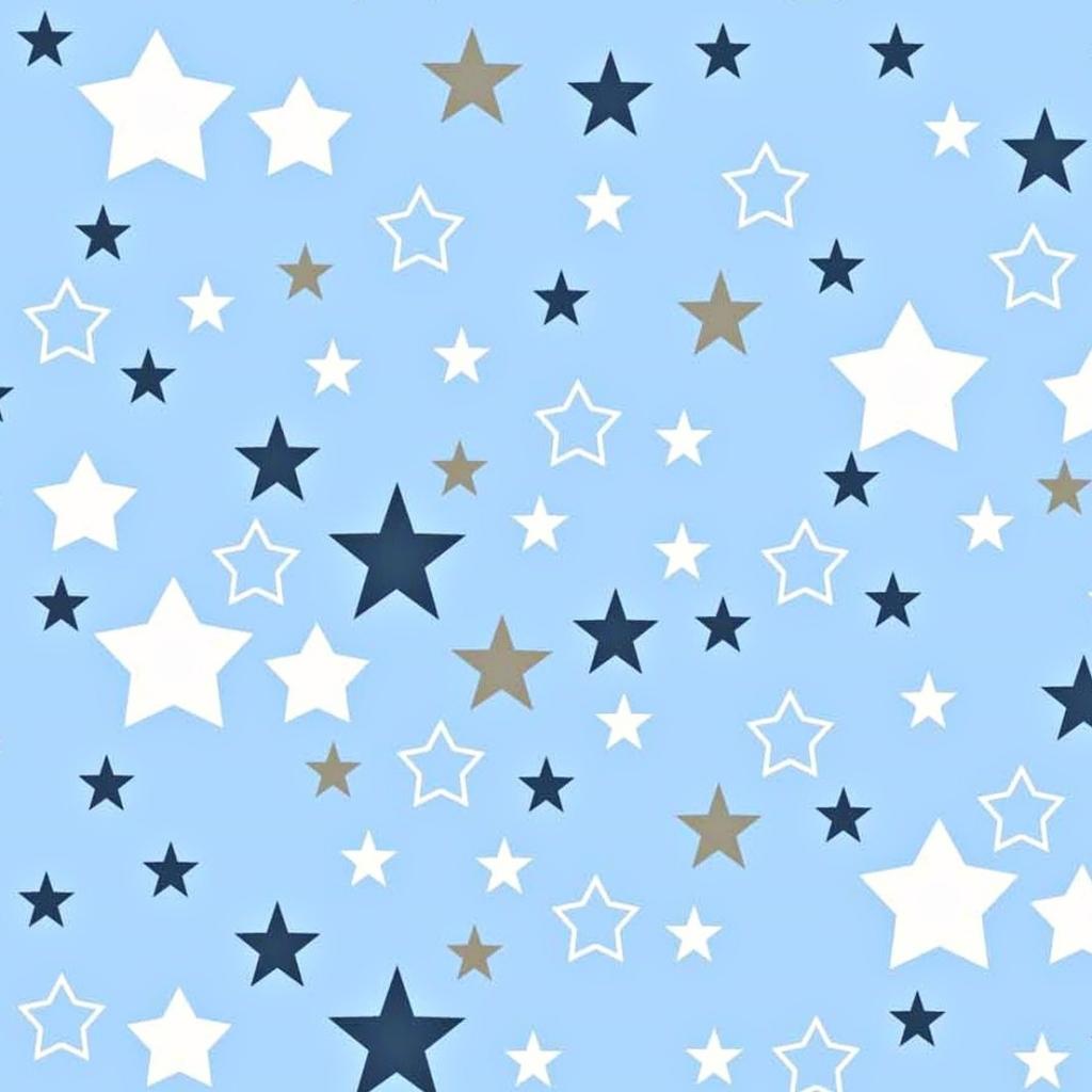 Tkanina gwiazdozbiór biało granatowo szary na niebieskim tle