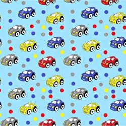 Bawełna samochody kolorowe z kropeczkami na niebieskim tle.