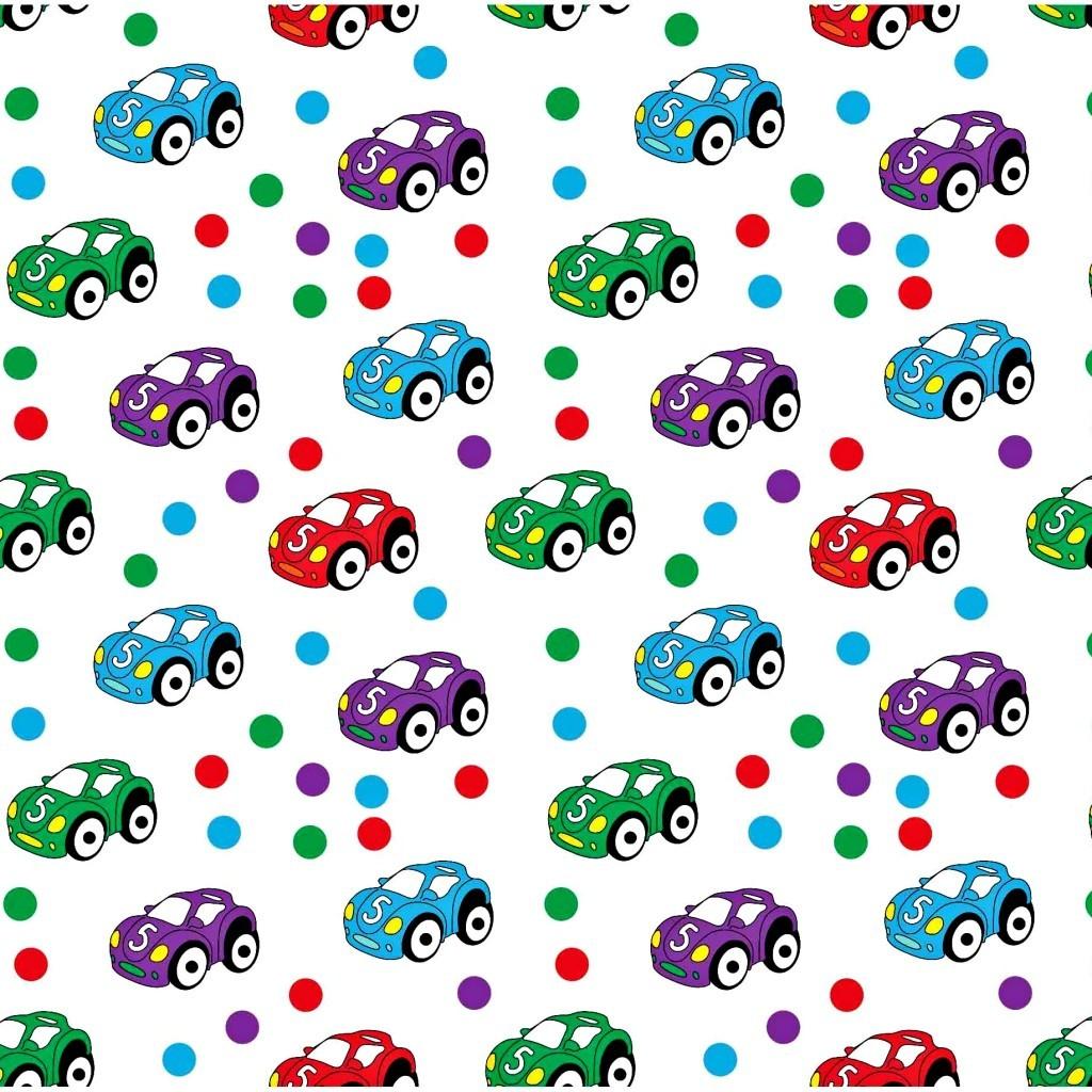 Tkanina w samochody kolorowe z kropeczkami na białym tle
