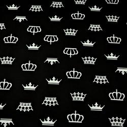 Tkanina korony białe na czarnym tle