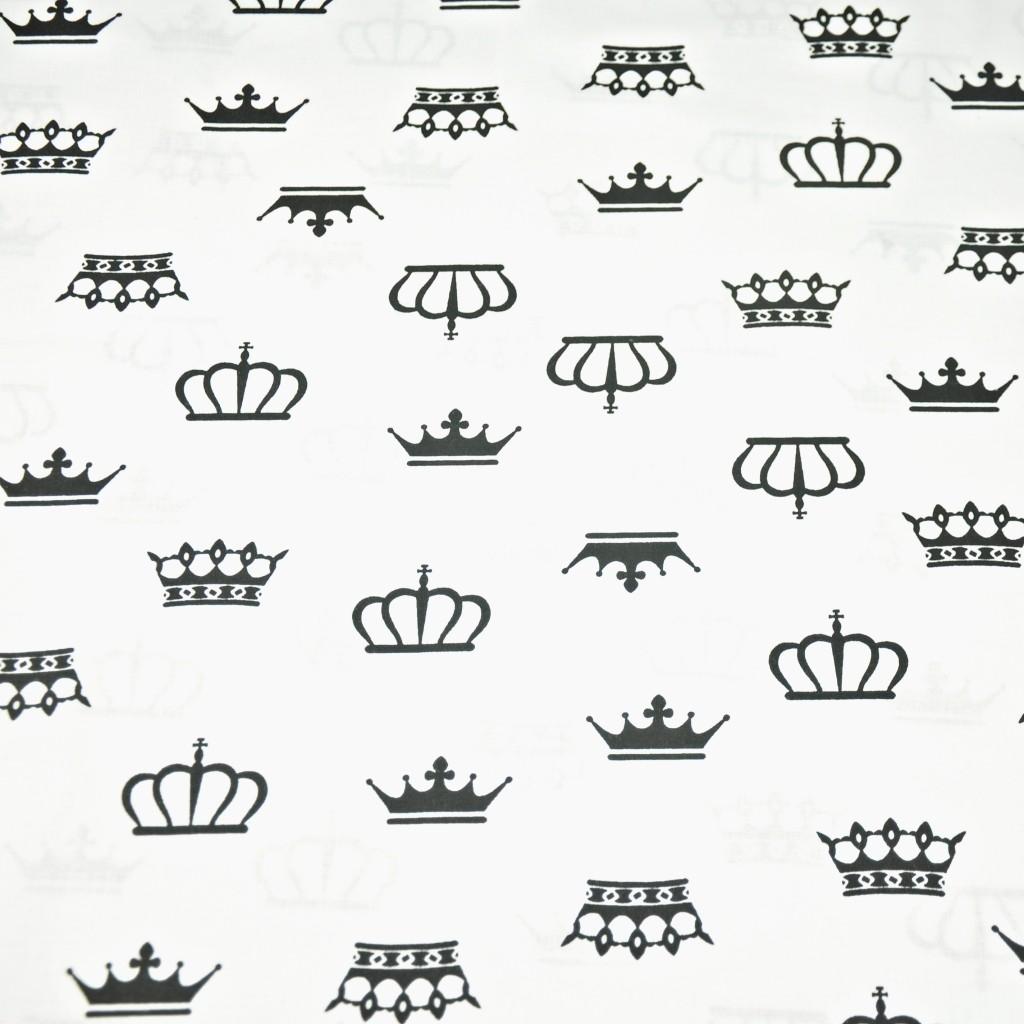 Tkanina korony czarne na białym tle