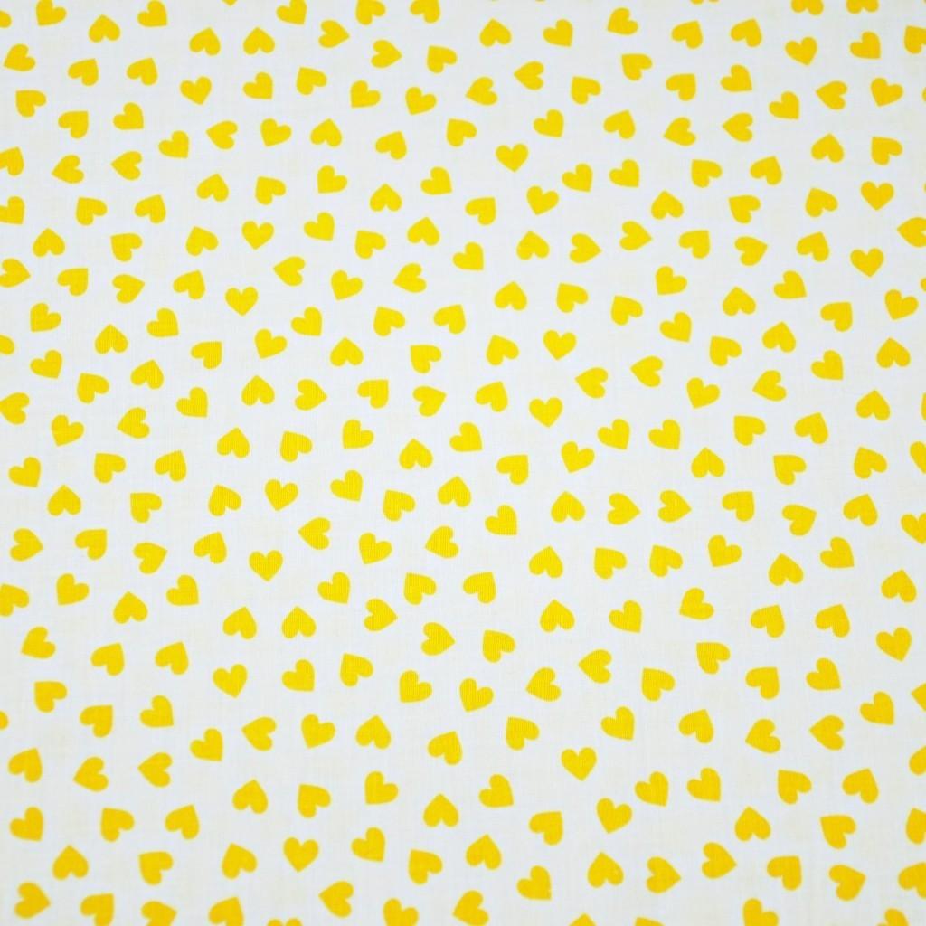 Tkanina serduszka MINI żółte na białym tle