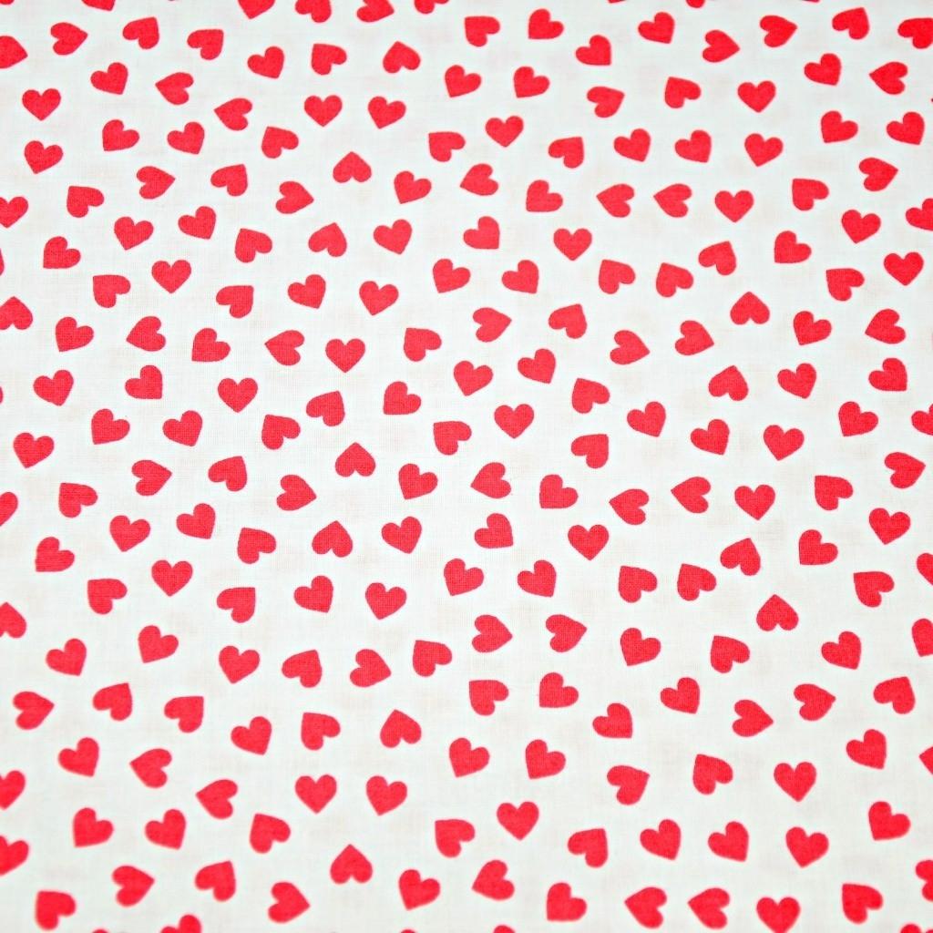 Tkanina serduszka MINI czerwone na białym tle