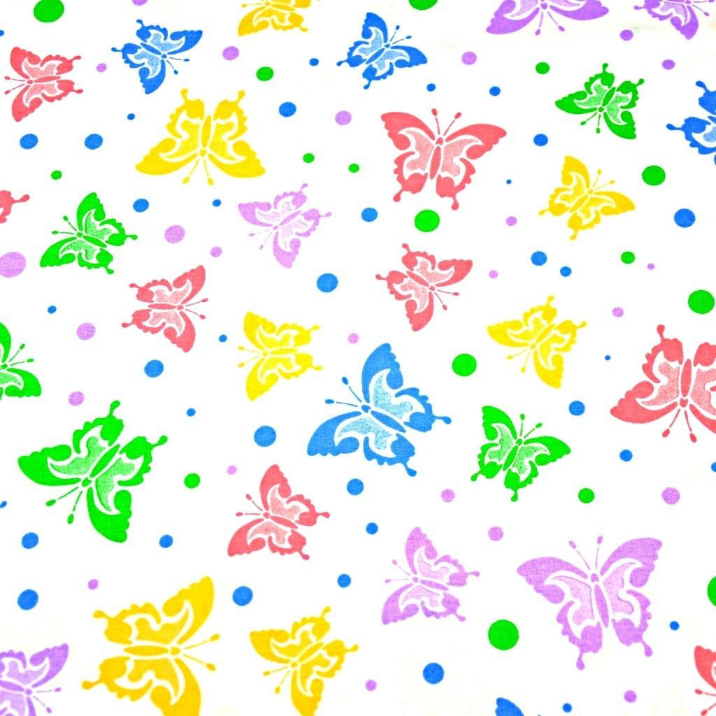 Tkanina motylki kolorowe z kropeczkami na białym tle