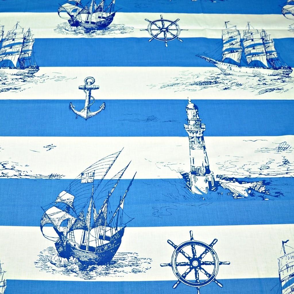 Tkanina w statki w biało niebieskie pasy