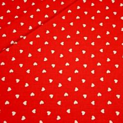 Tkanina w serduszka 8mm białe na czerwonym tle