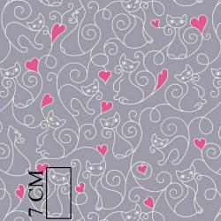 Tkanina w kotki z różowymi serduszkami na szarym tle
