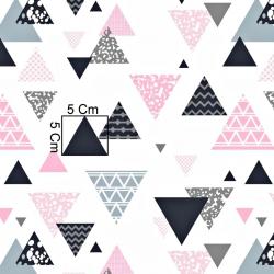Tkanina w trójkąty wzorzyste szaro różowe na białym tle