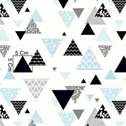 Tkanina w trójkąty wzorzyste szaro miętowe na białym tle