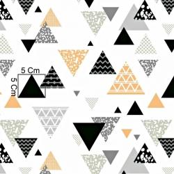 Tkanina w trójkąty wzorzyste szaro pomarańczowe na białym tle