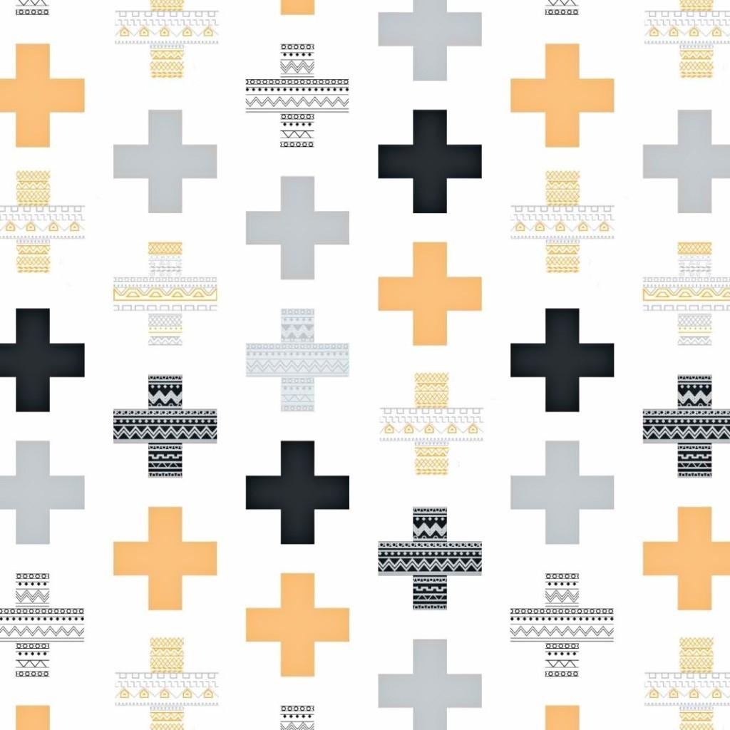 Tkanina w plusy wzorzyste szaro pomarańczowe na białym tle