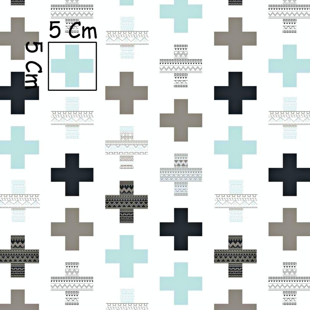 Tkanina w plusy wzorzyste szaro miętowe na białym tle