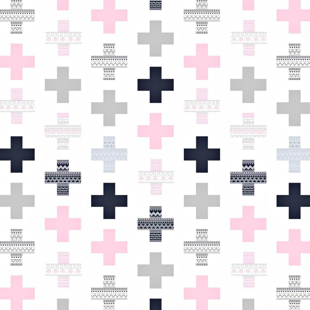 Tkanina w plusy wzorzyste szaro różowe na białym tle