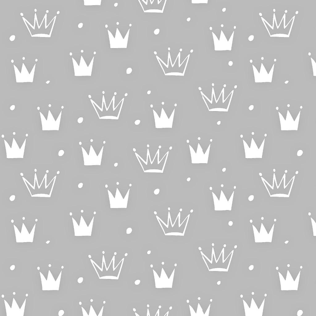 Tkanina w korony z kropkami białe na szarym tle