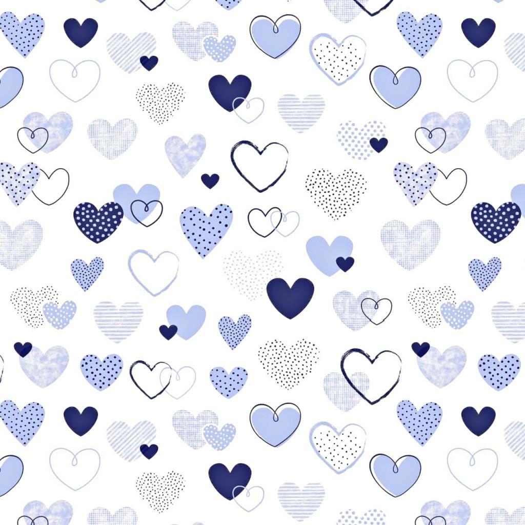 Tkanina w serca wzorzyste granatowe na białym tle