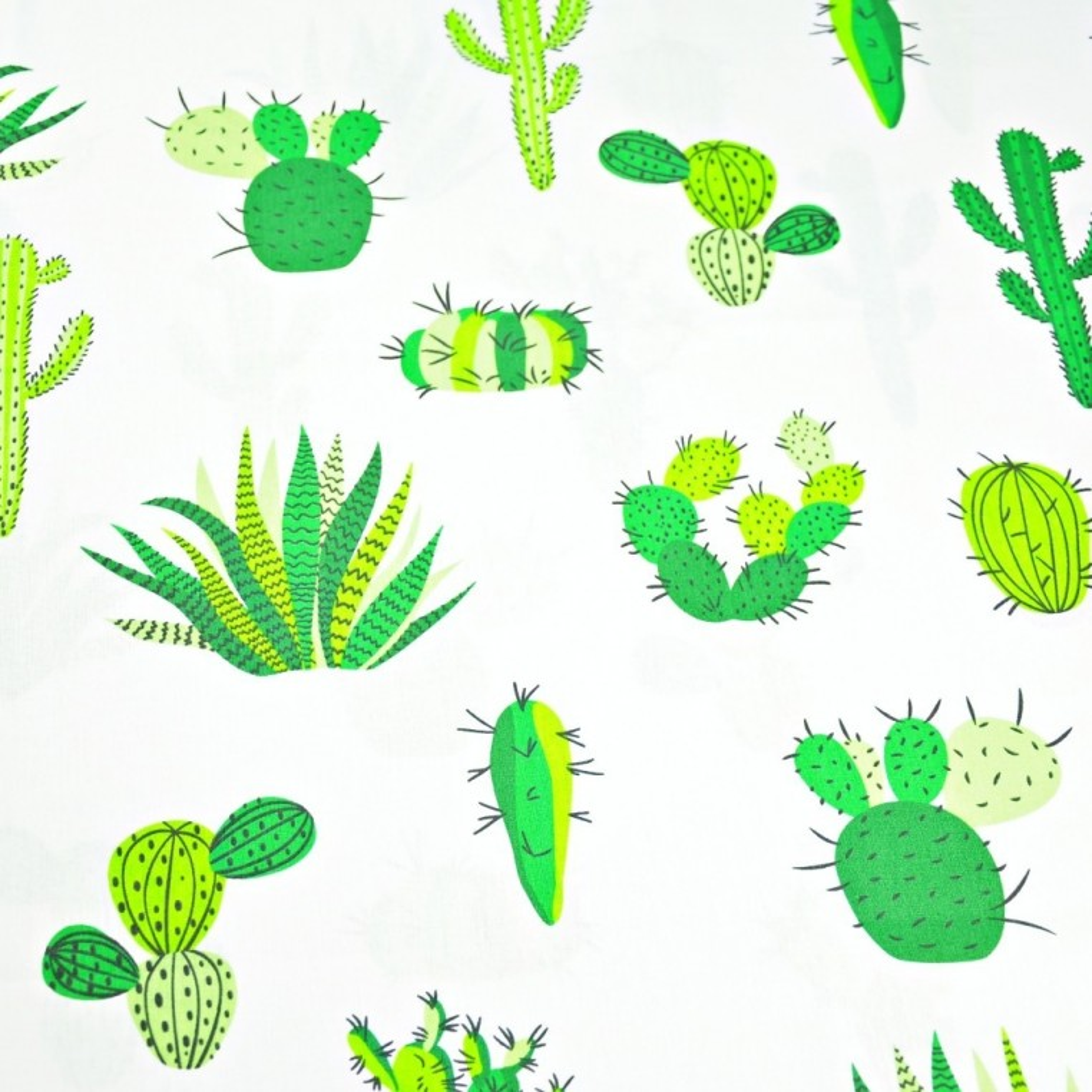 Tkanina w kaktusy zielone na białym tle