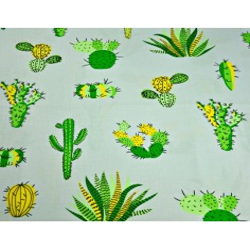 Tkanina w kaktusy zielone na szarym tle
