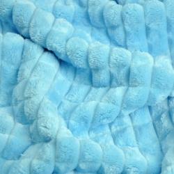 Materiał Minky w kwadraty błękitny
