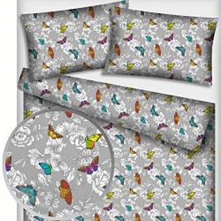 Tkanina w motylki kolorowe z kwiatkami na szarym tle