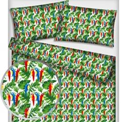 Tkanina w papugi kolorowe na zielonych liściach