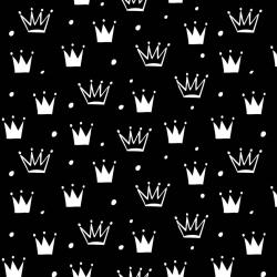 Tkanina w korony z kropkami białe na czarnym tle