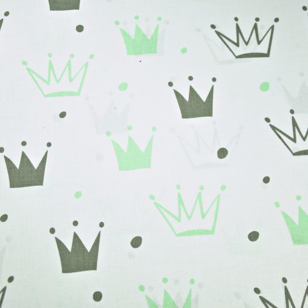 Tkanina w korony z kropkami szaro zielone na białym tle