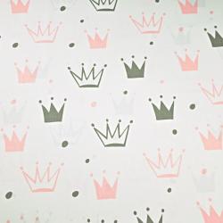 Tkanina w korony z kropkami szaro różowe na białym tle