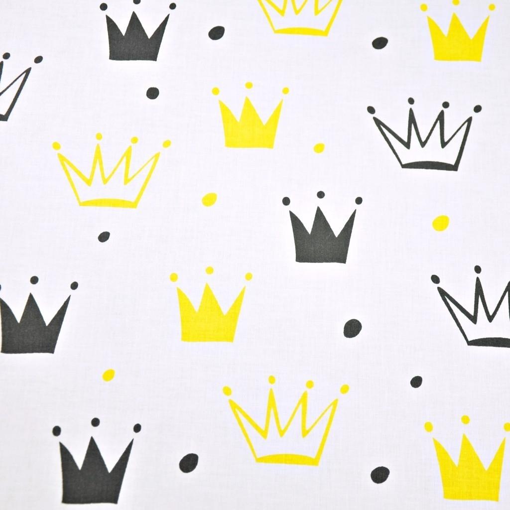 Tkanina w korony z kropkami czarno żółte na białym tle