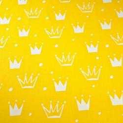 Tkanina w korony z kropkami białe na żółtym tle