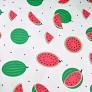 Tkanina w arbuzy zielone na białym tle