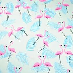 Tkanina w flamingi z listkami różowo błękitne na białym tle