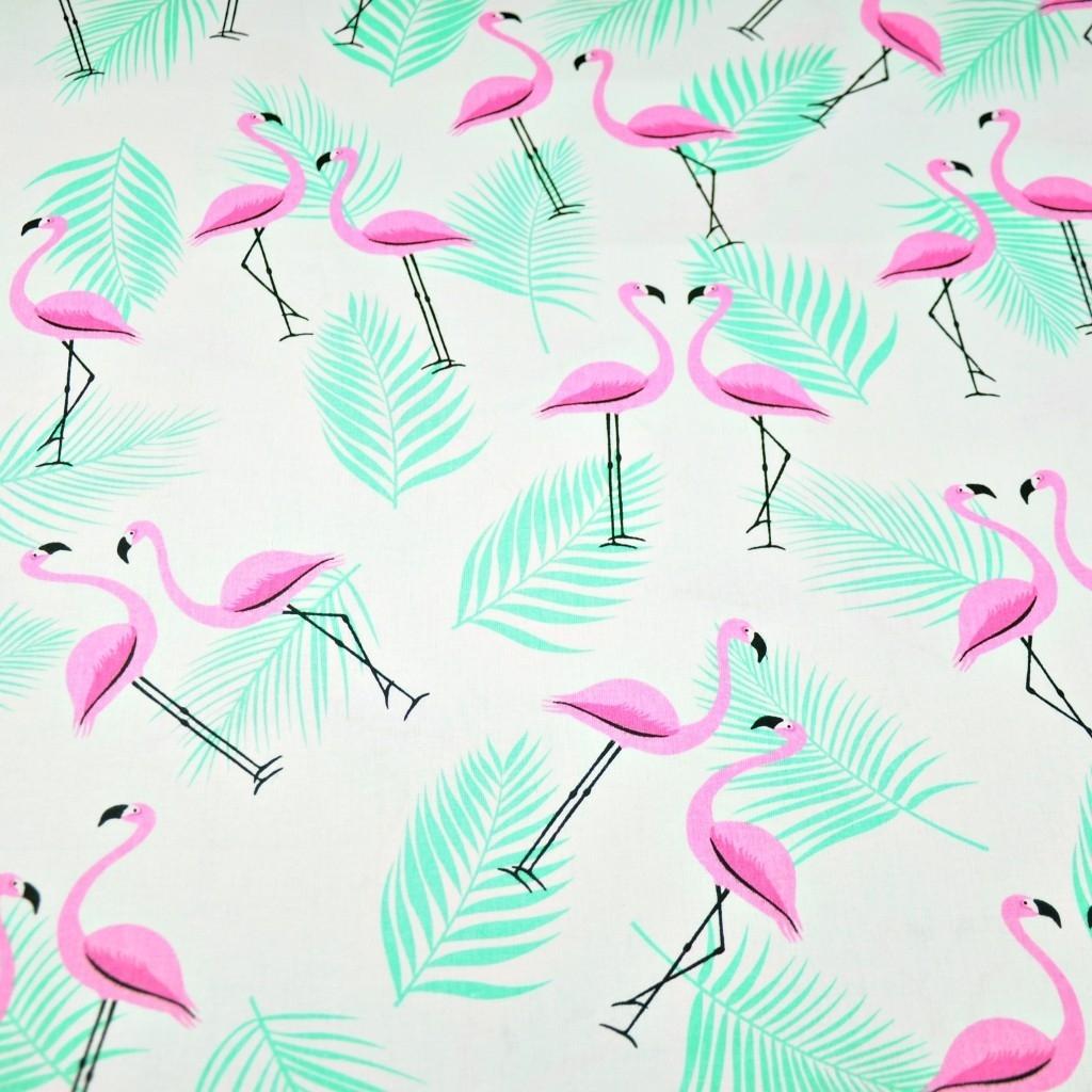 Tkanina w flamingi z listkami różowo miętowe na białym tle