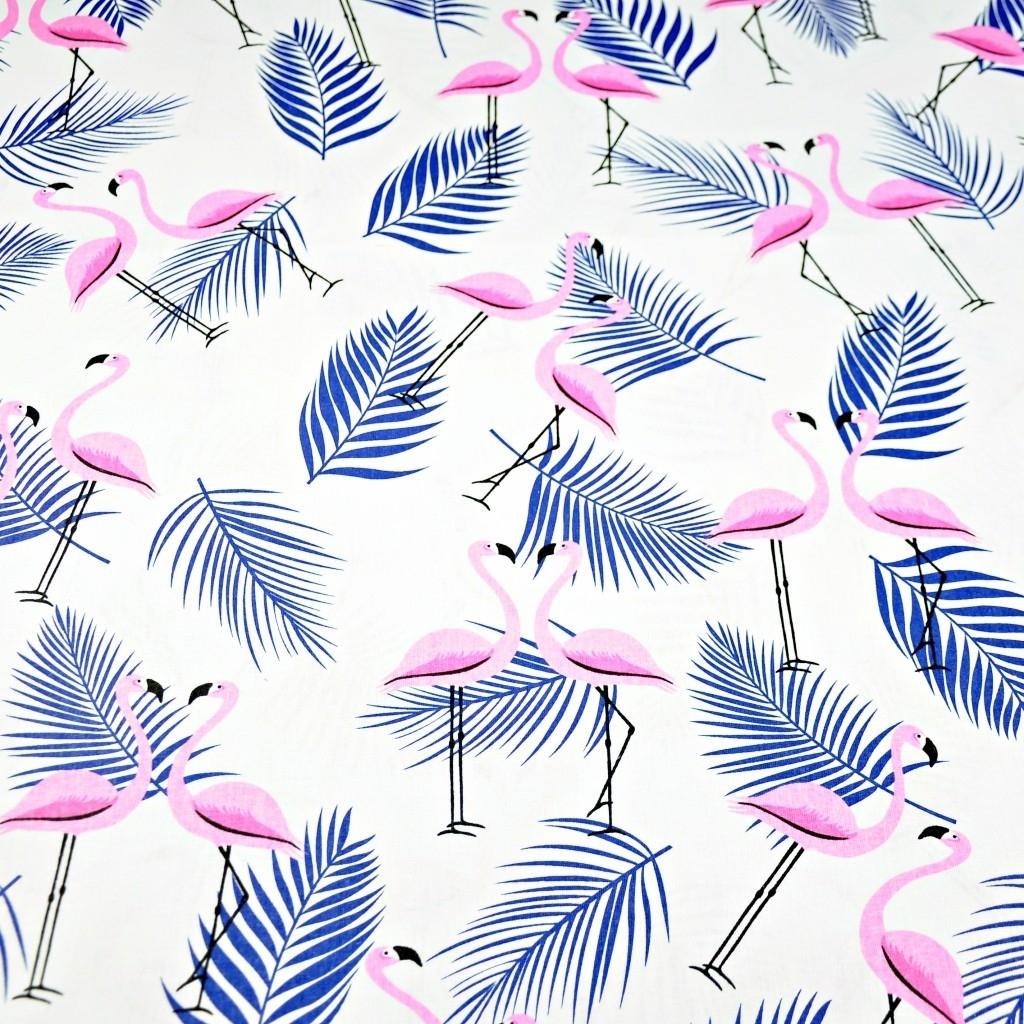 Tkanina w flamingi z listkami różowo granatowe na białym tle