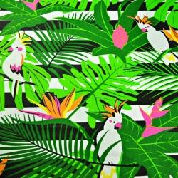 Tkanina w papugi białe na zielonych liściach na pasach