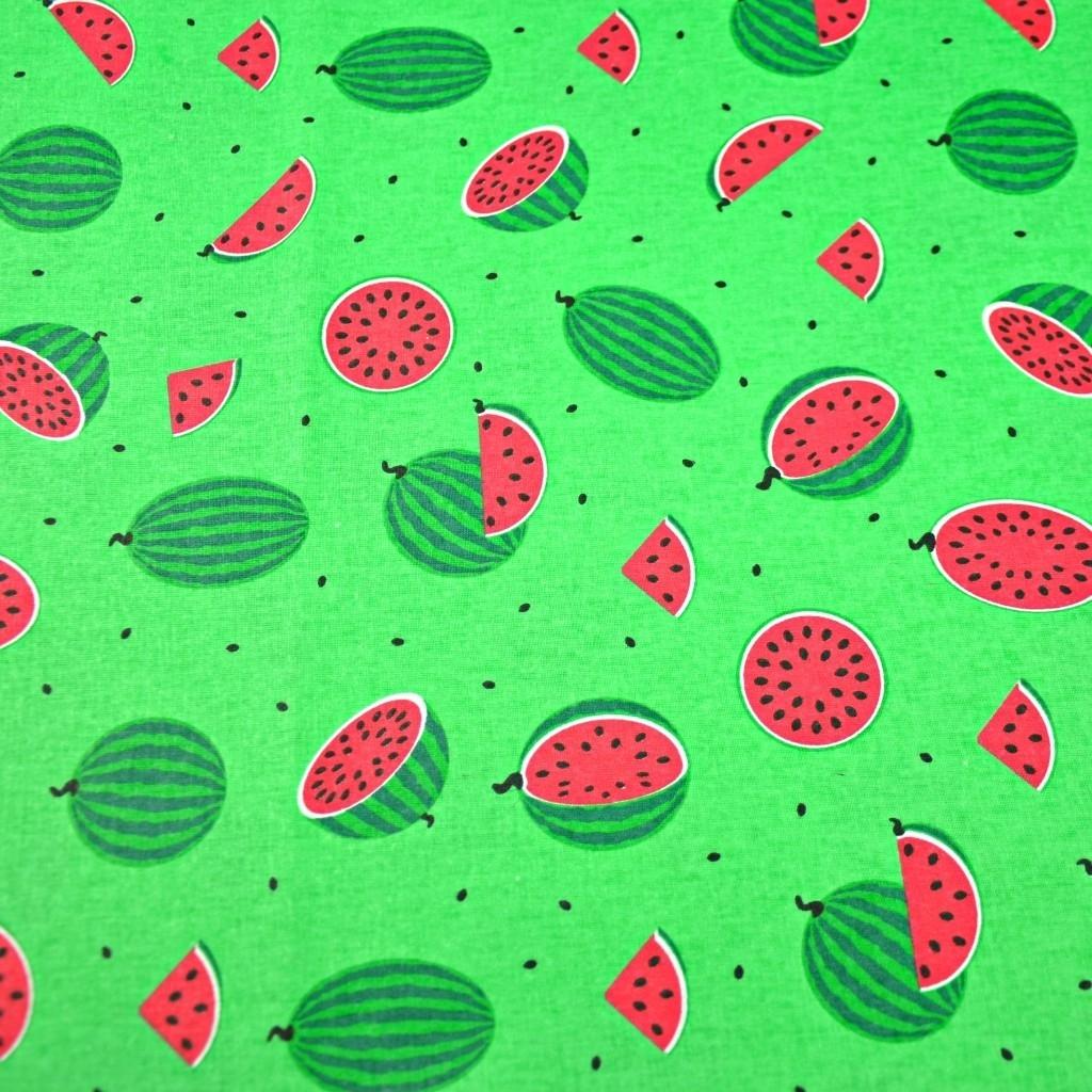 Tkanina w arbuzy małe zielone na zielonym tle