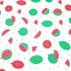 Tkanina w arbuzy małe zielone na białym tle