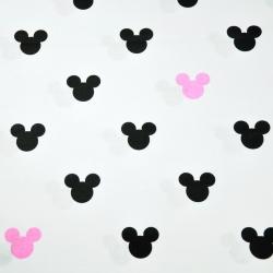 Tkanina w MIKI czarno różowe na białym tle