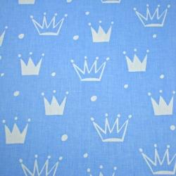 Tkanina w korony z kropkami białe na niebieskim tle