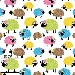 Tkanina w owieczki kolorowe w kropeczki na białym tle