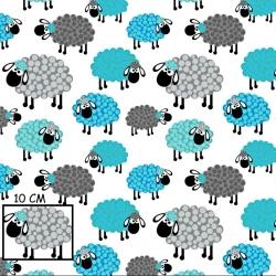Tkanina w owieczki niebiesko szare w kropeczki na białym tle