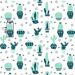 Tkanina w kaktusy miętowo zielone na białym tle
