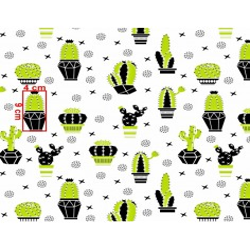 Tkanina w kaktusy zielono czarne na białym tle