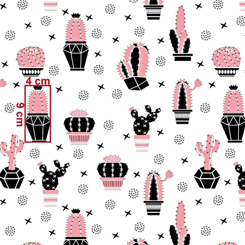 Tkanina w kaktusy różowo czarne na białym tle