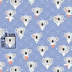 Tkanina w misie koala w kinie na fioletowym tle