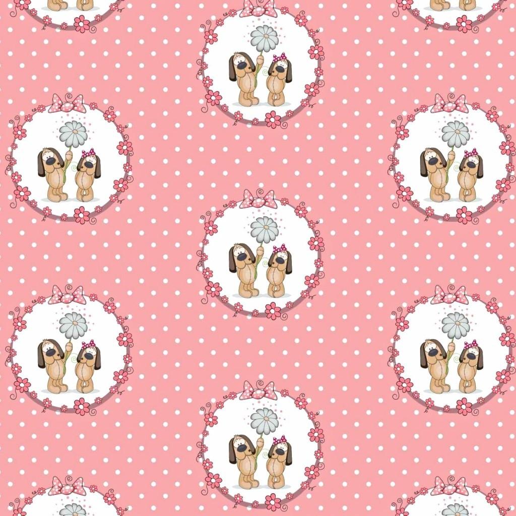 Tkanina w pieski w kołach na różowym tle w grochy