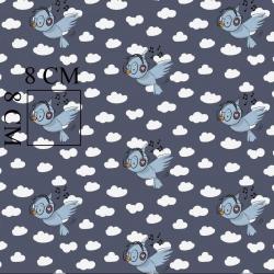 Tkanina w ptaszki ze słuchawkami na ciemnoszarym tle