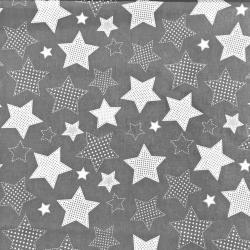 Tkanina Gwiazdki w kropki na szarym tle